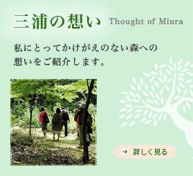 三浦の想い Thought of Miura 私にとってかけがえのない森への 想いをご紹介します。